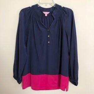 Lilly Pulitzer Navy Pink 100% Silk Tunic Elsa Top